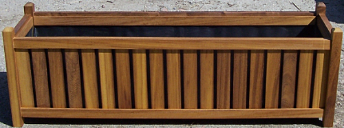 iroko slatted garden planter complete with liner